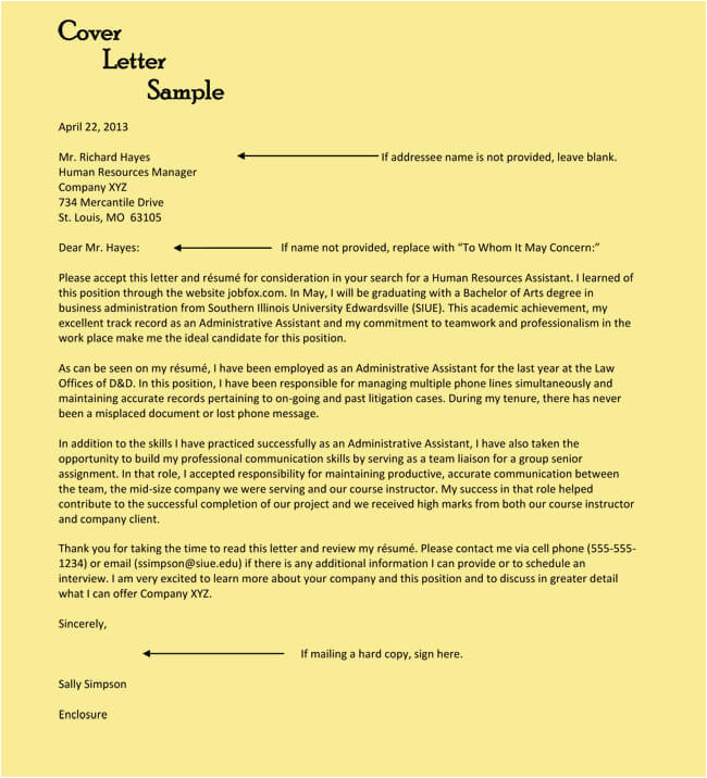 cover letter sample human resources assistant