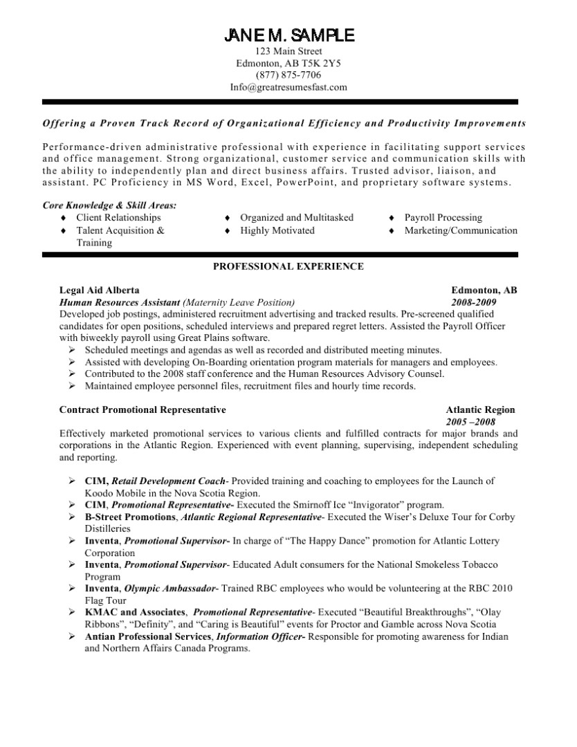 Cover Letter for Human Resources Administrative assistant Human Resources assistant Resume