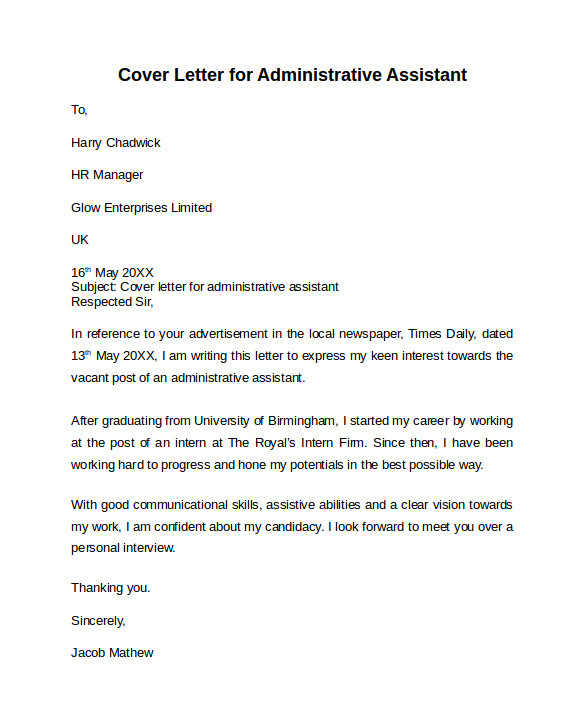 Cover Letter for Human Resources Administrative assistant Sample Cover Letter for Administrative assistant Cover