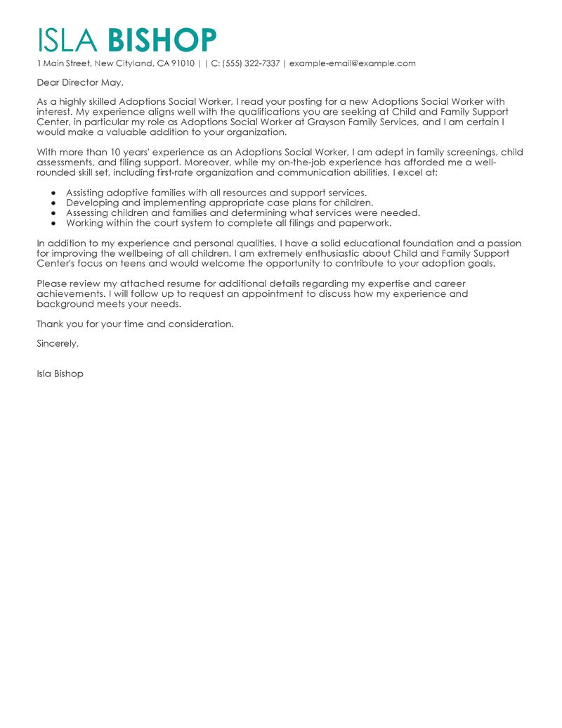 Cover Letter for Human Services Job Best Adoptions social Worker Cover Letter Examples