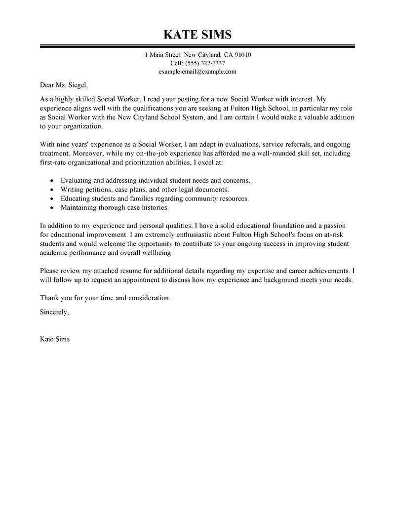 social service worker cover letter