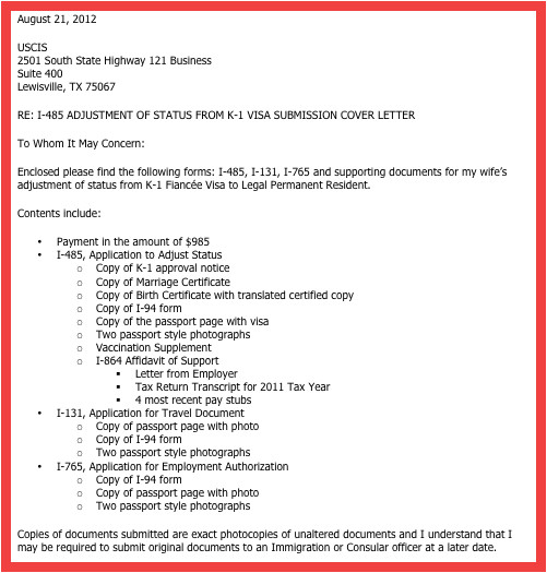 Cover Letter for I 129f I 129f Cover Letter Sample Memo Example