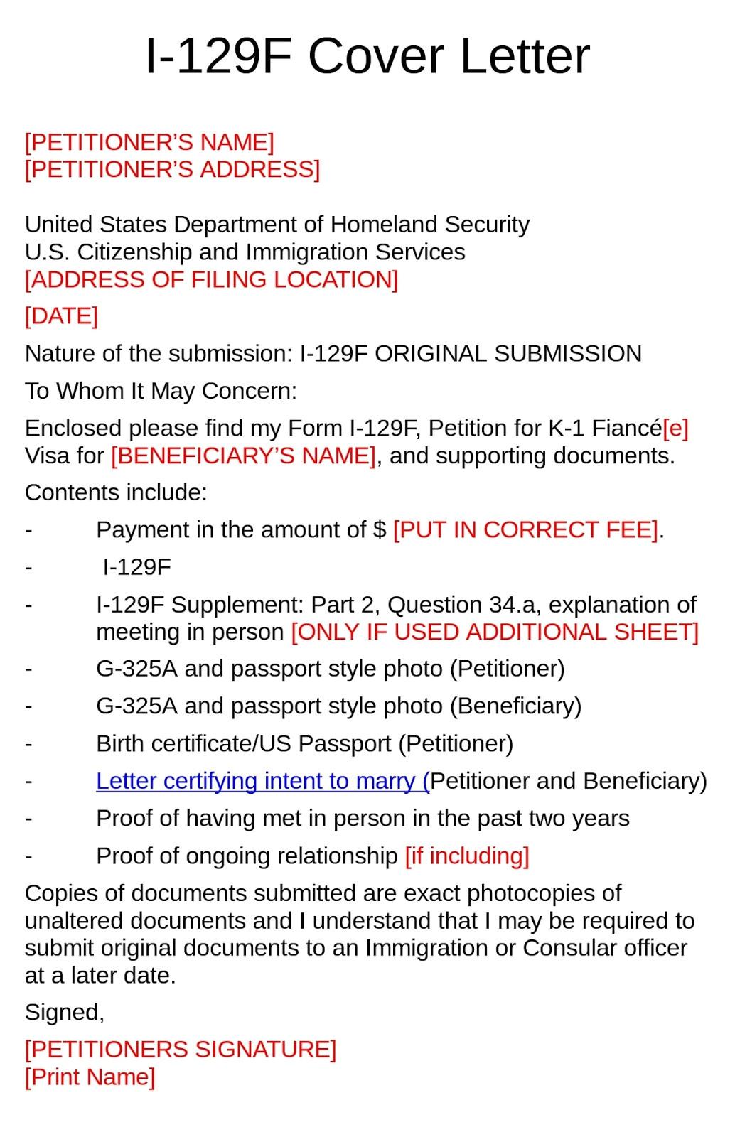 k1 visa cover letter example