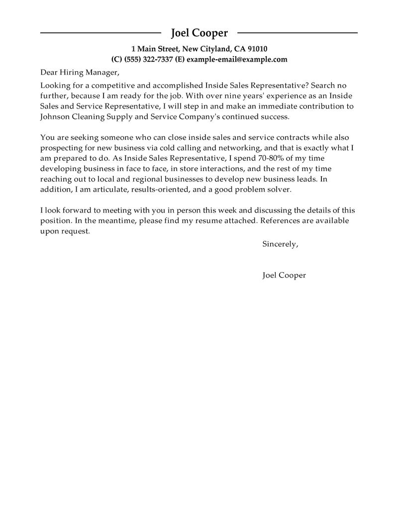 Cover Letter for Inside Sales Position Best Inside Sales Cover Letter Examples Livecareer