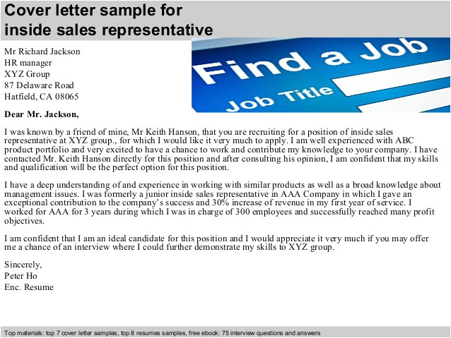 inside sales representative cover letter