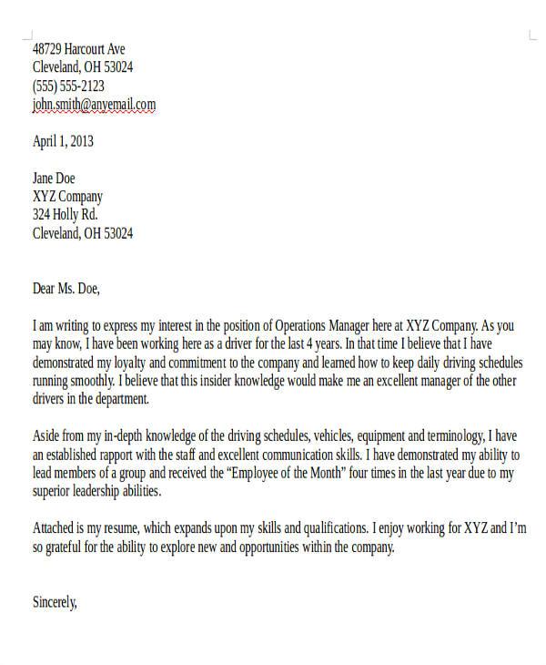 Cover Letter for Internal Job Transfer 80 Sample Letters Sample Templates