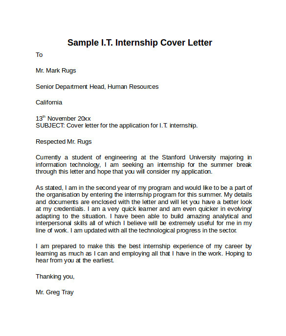 Cover Letter for Internship In Information Technology 8 Information Technology Cover Letter Templates to