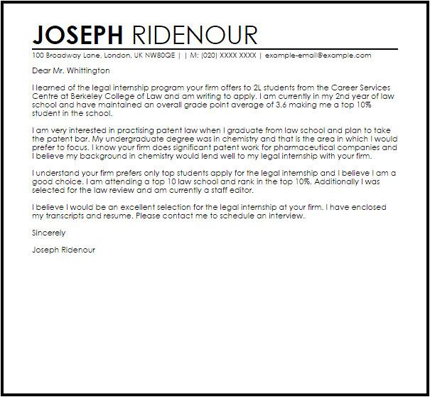 sample cover letter for a legal internship