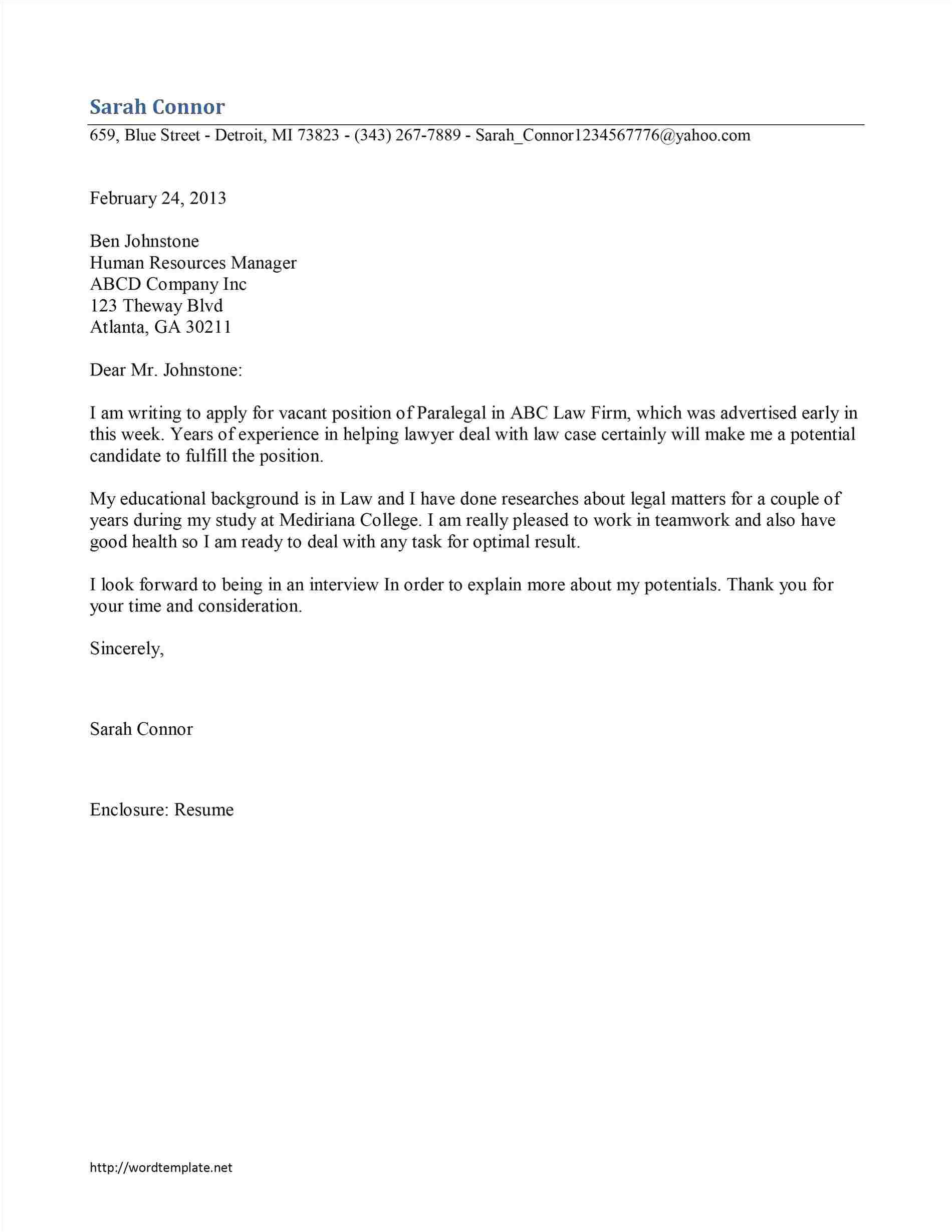 sample hospitality cover letters