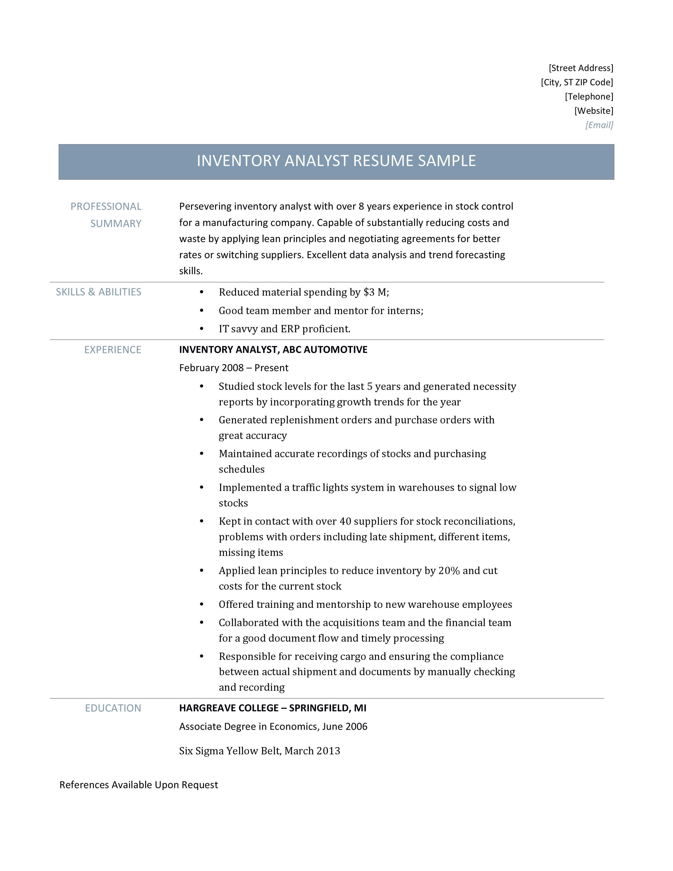 inventory control description resume