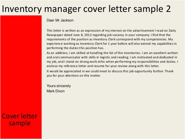 inventory manager cover letter 31973662