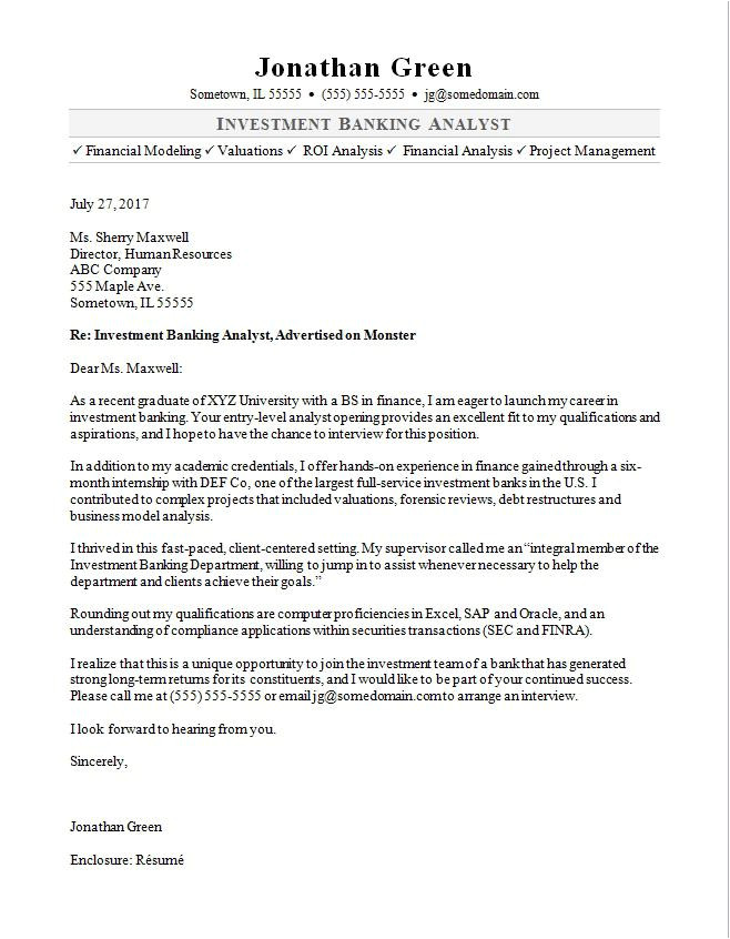 cover letter investment banker