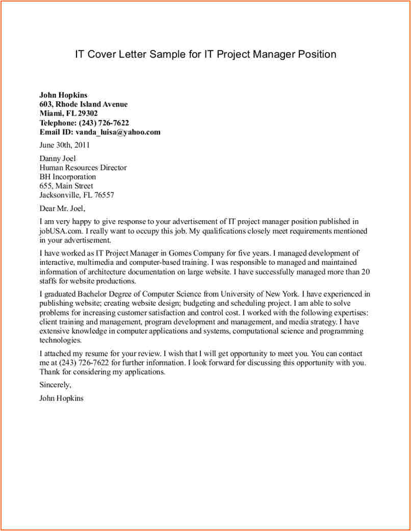 Cover Letter for It Director Position 8 Project Manager Cover Letter Budget Template Letter