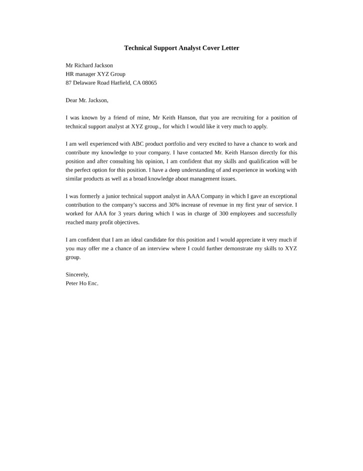 Cover Letter for It Technical Support Technical Support Analyst Cover Letter Samples and Templates