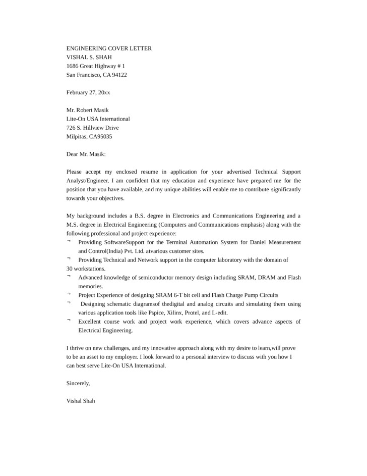 technical support engineer cover letter samples templates