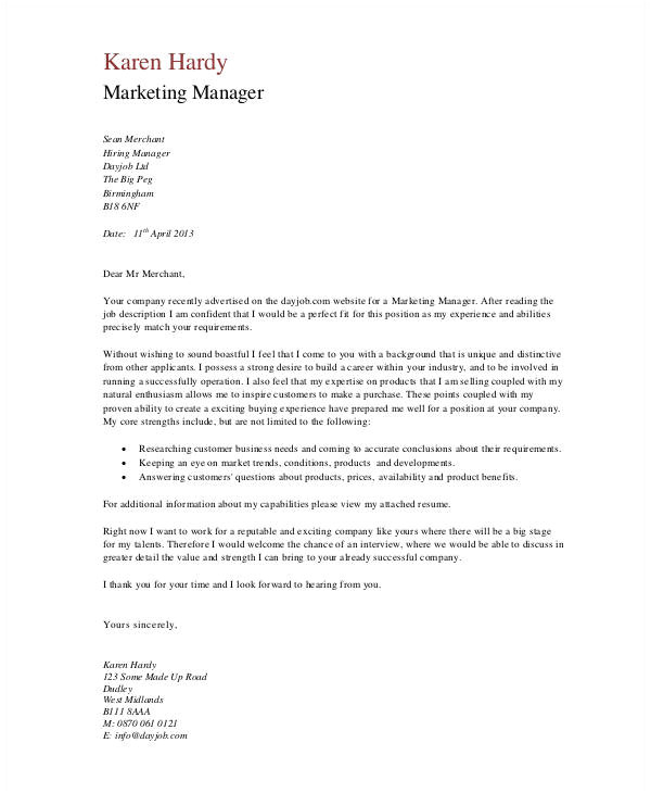 Cover Letter for Job Application Sales and Marketing 11 Marketing Cover Letter Templates Free Sample