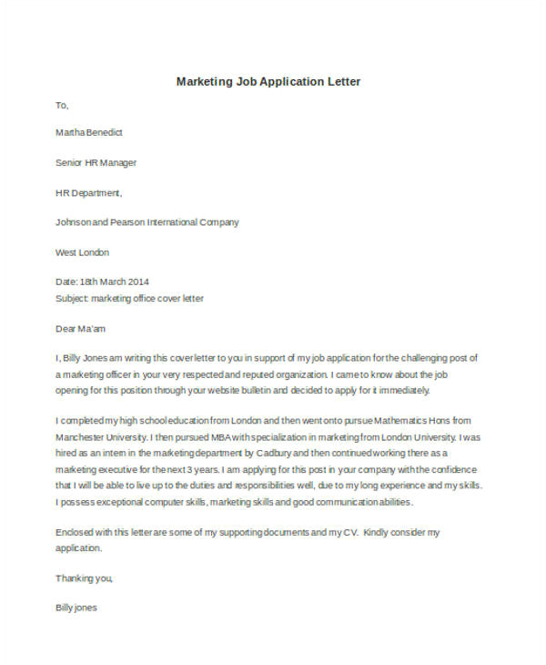 application letter for marketing post