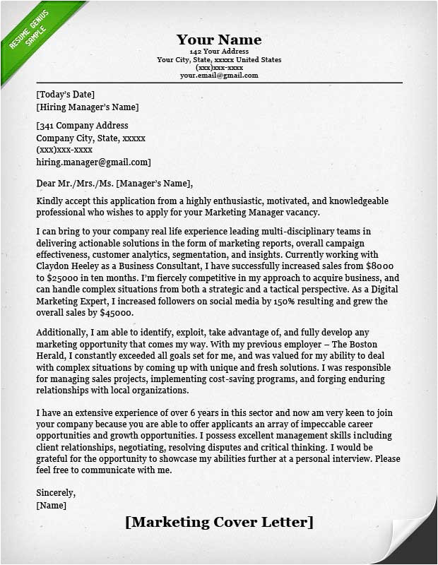 salesperson marketing cover letter samples