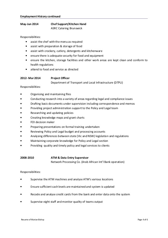 cover letter kitchen hand