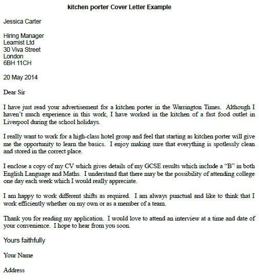 kitchen porter cover letter example