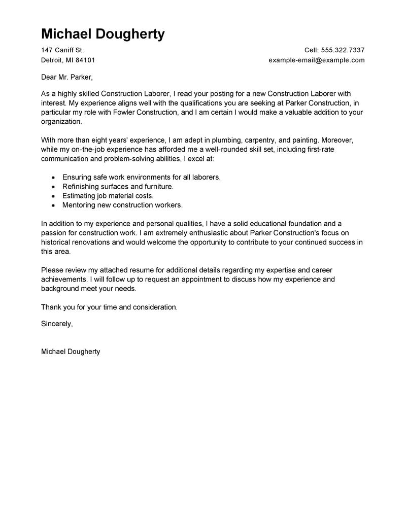 Cover Letter for Laborer Position Best Construction Labor Cover Letter Examples Livecareer