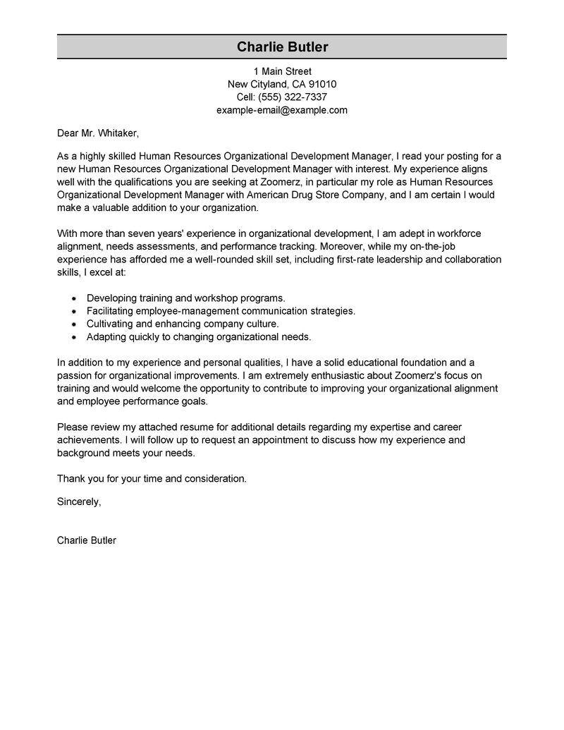 Cover Letter for Leadership Development Program Best organizational Development Cover Letter Examples