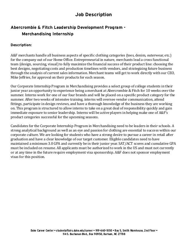 Cover Letter for Leadership Development Program Undergraduate Student Cover Letter Example Abercrombie