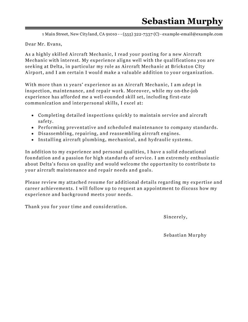aircraft mechanic cover letter sample
