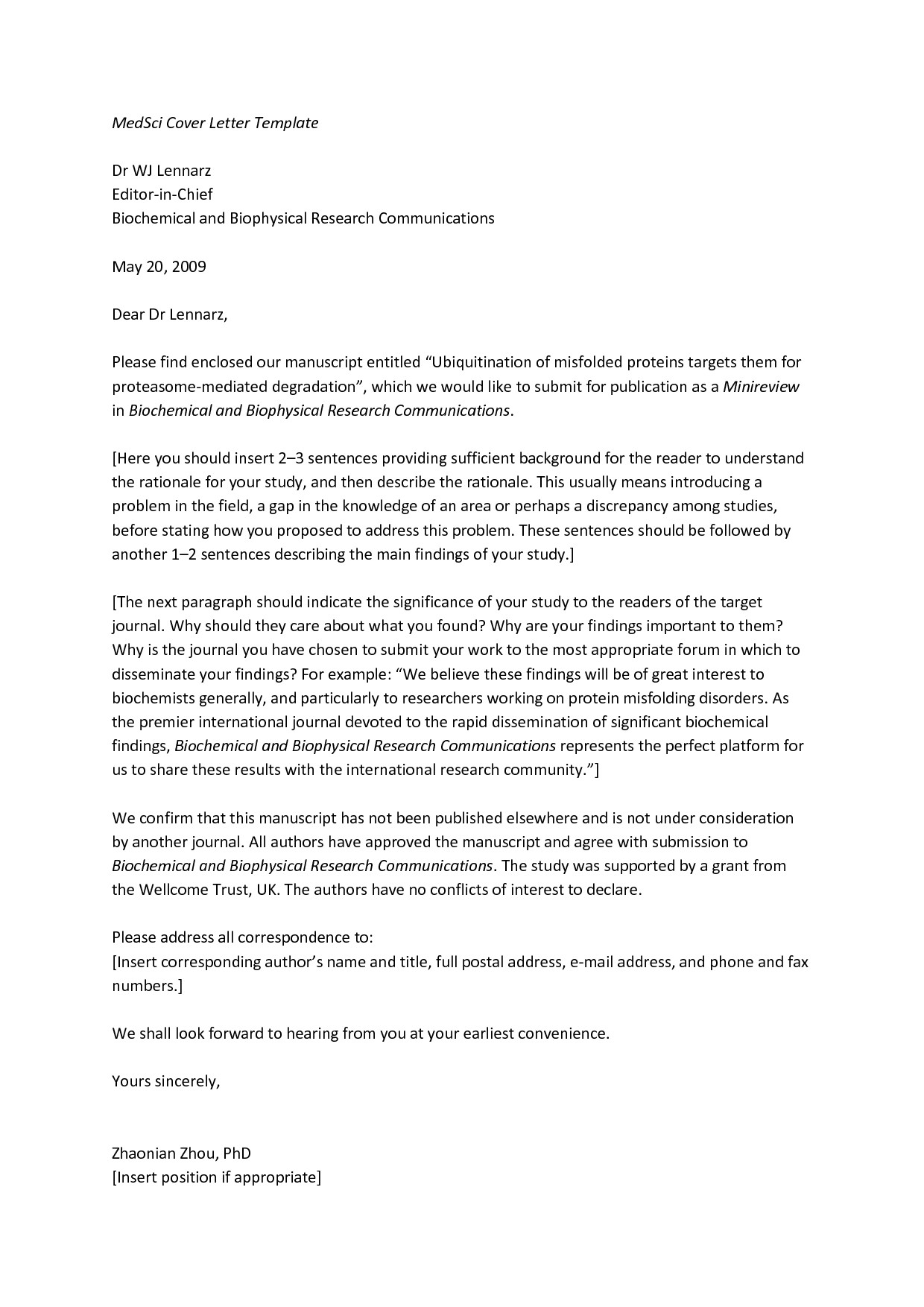 letter to journal editor