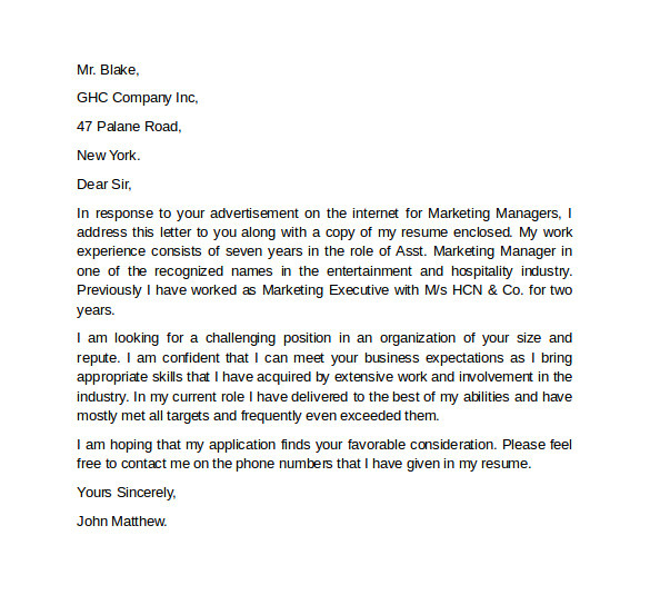 marketing cover letter template example