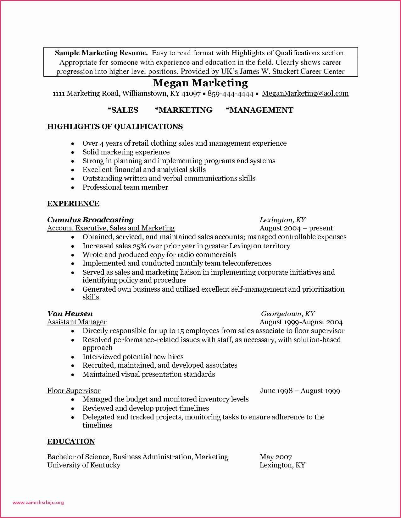 sample resume cover letter marketing manager