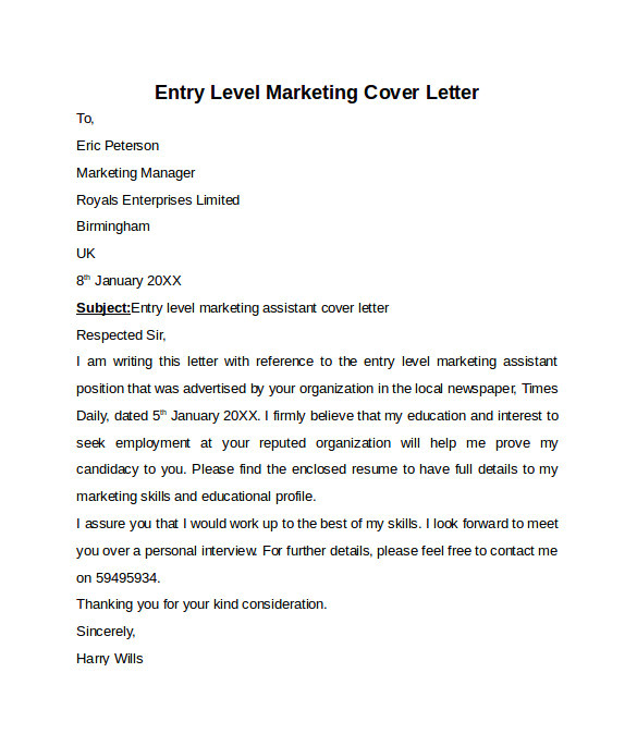 Cover Letter for Marketing Position Entry Level Entry Level Cover Letter Templates 9 Free Samples
