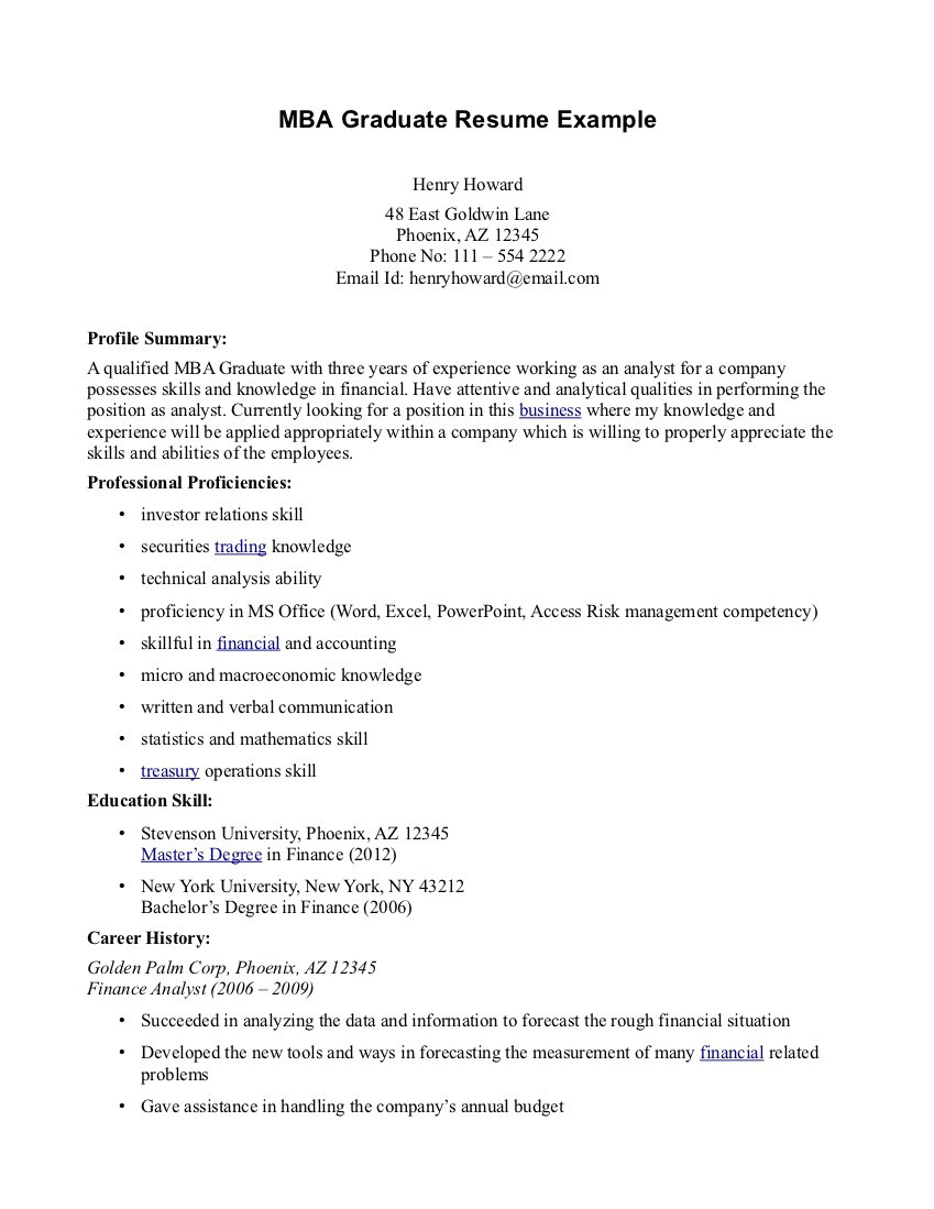 cover letter for mba fresher resume