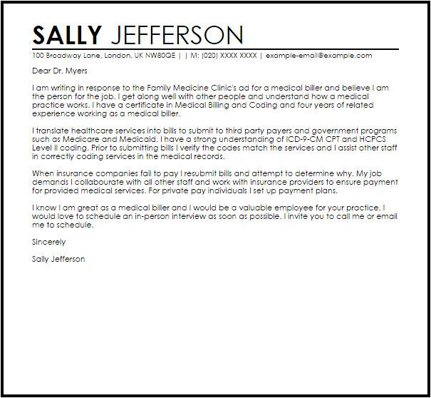 sample cover letter for a medical biller