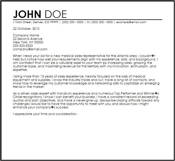 medical sales representative letter template