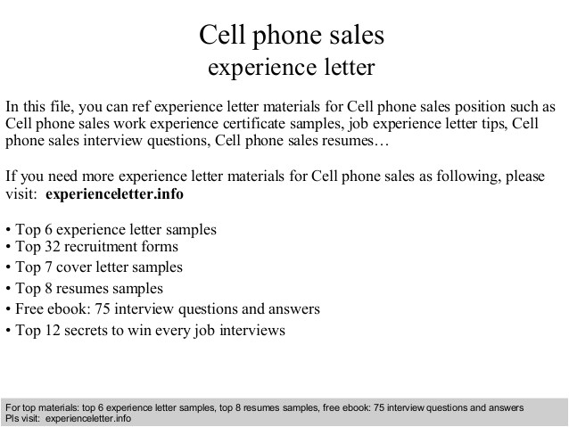 cell phone sales experience letter