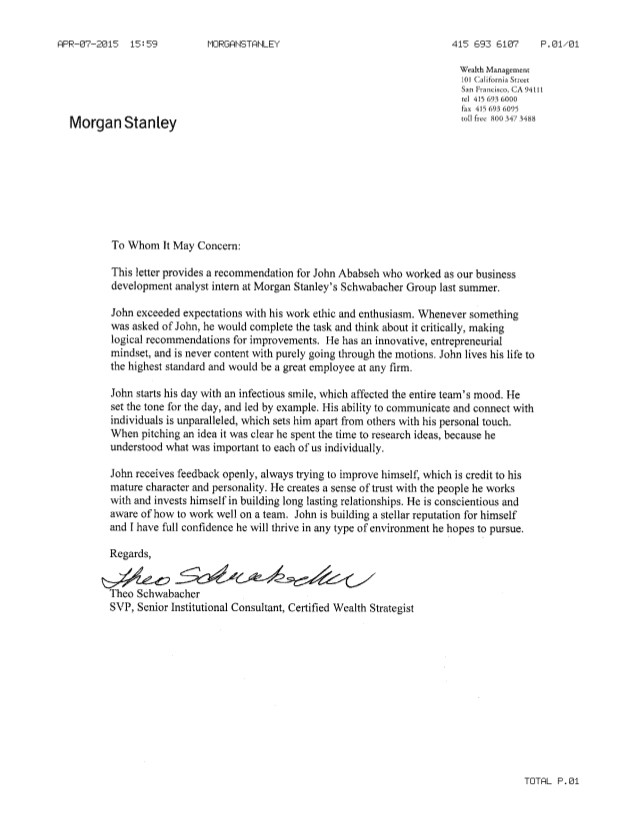 Cover Letter for Morgan Stanley Morgan Stanley Letter Of Rec