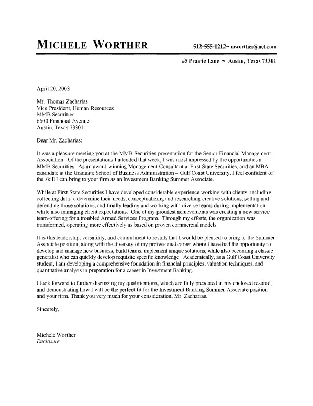 Cover Letter for Morgan Stanley Summer associate Cover Letter