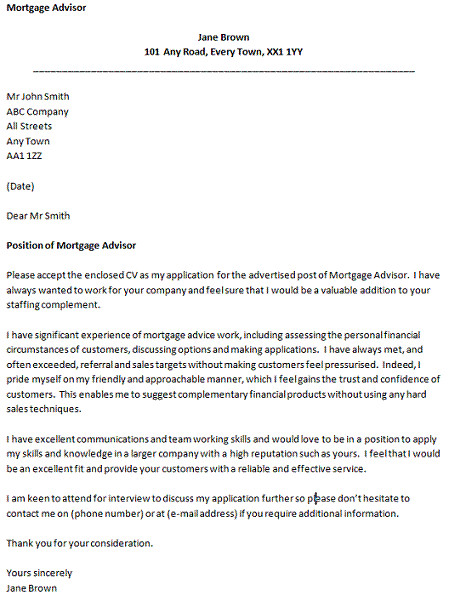cover letter for a mortgage advisor