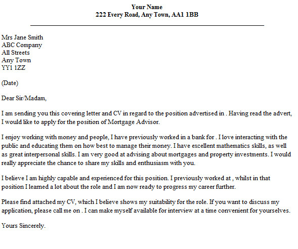 cover letter mortgage advisor