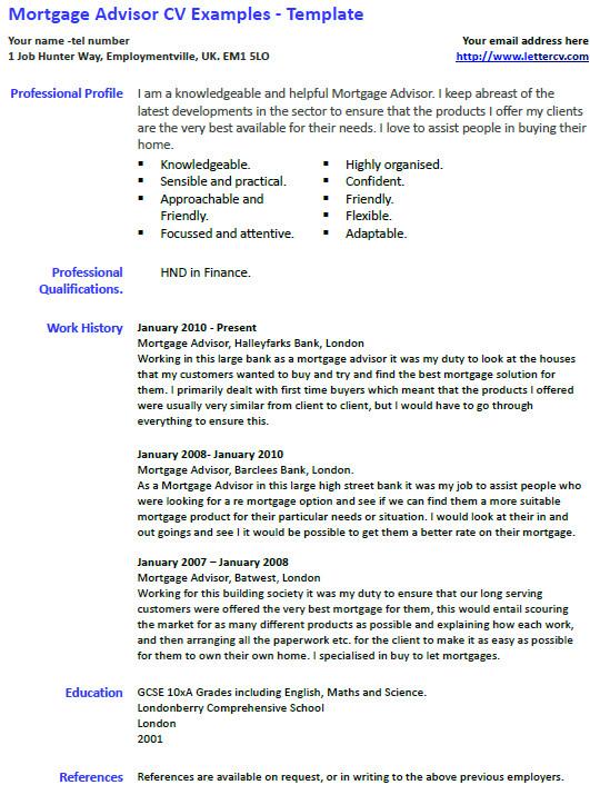 Cover Letter for Mortgage Advisor Mortgage Advisor Cv Example and Template Lettercv Com