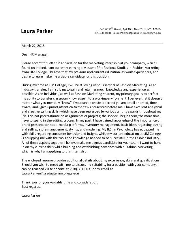sample cover letter for a fashion internship
