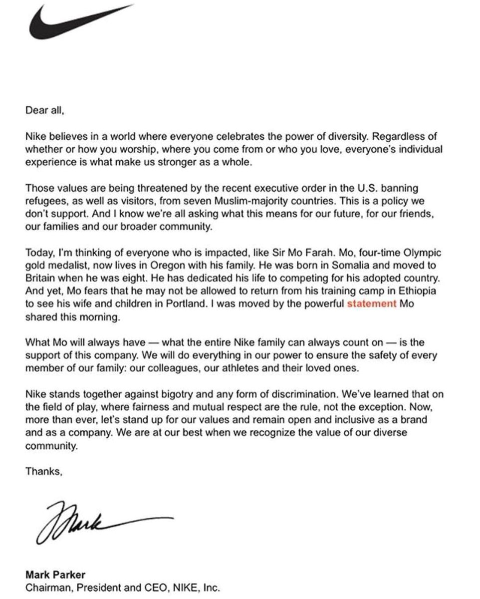 Cover Letter for Nike Sara Germano On Twitter Quot Nike Ceo Mark Parker Sends Rare