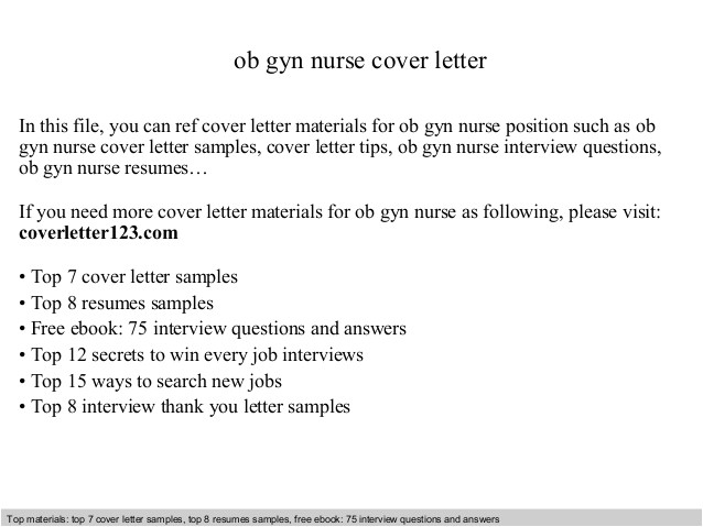 Cover Letter for Ob Gyn Position Ob Gyn Nurse Cover Letter