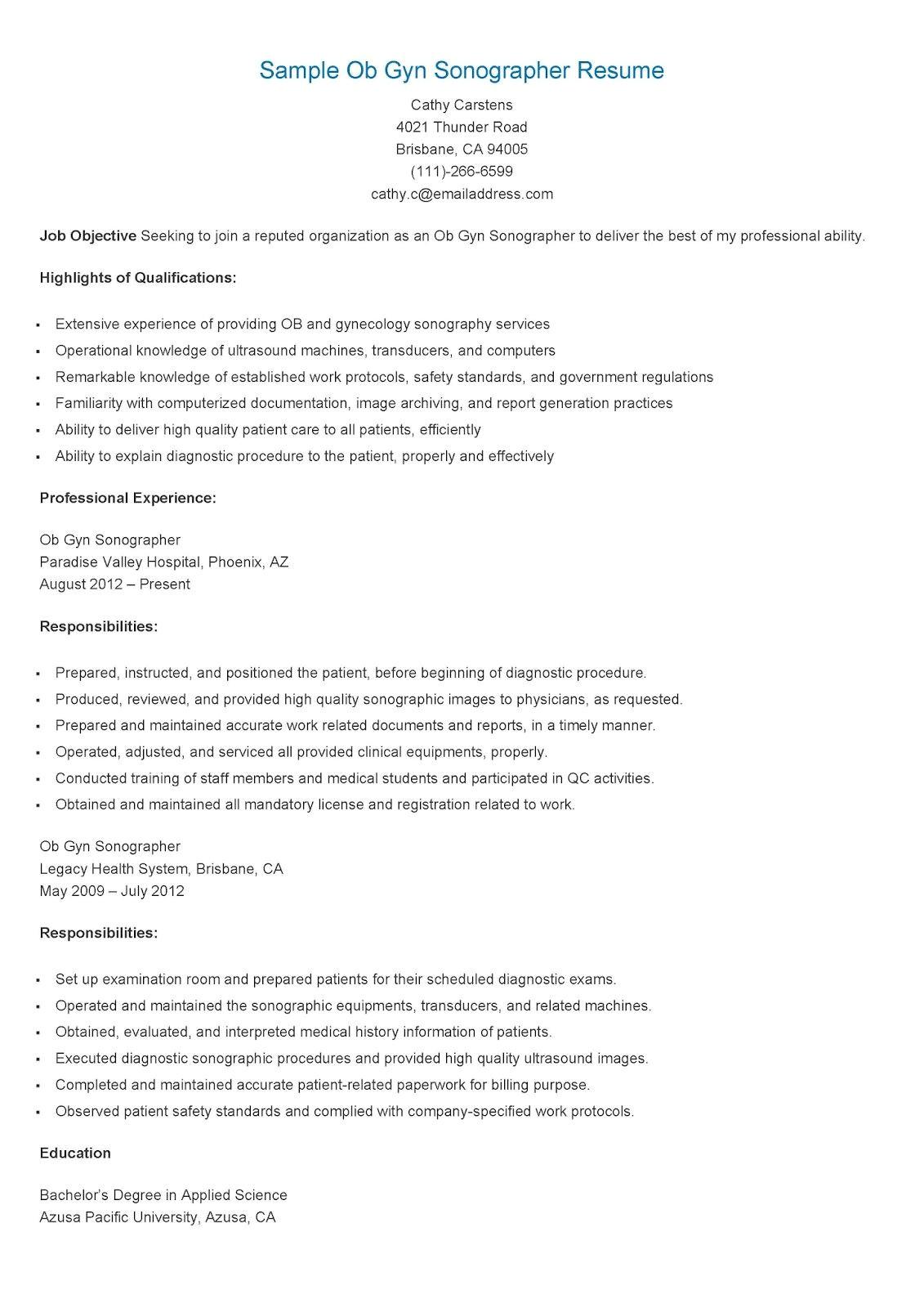 Cover Letter for Ob Gyn Position Sample Ob Gyn sonographer Resume Technician Resume