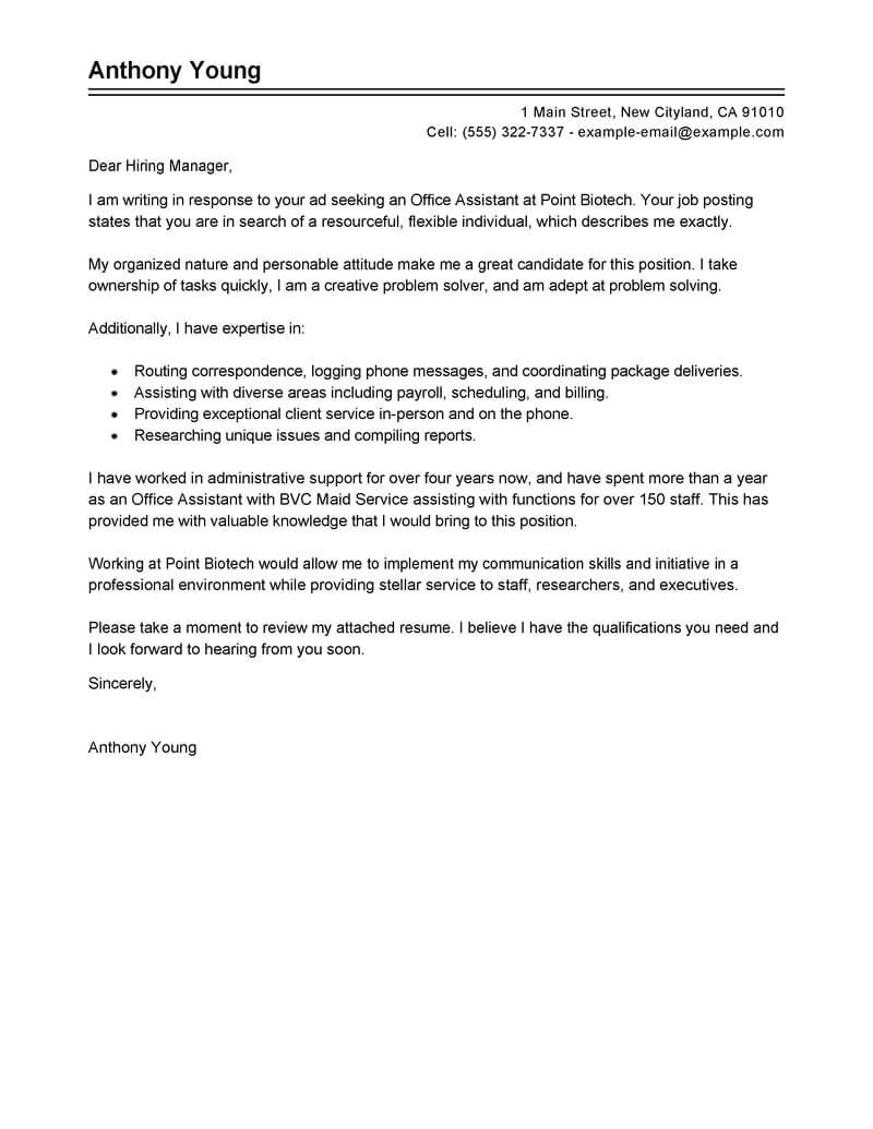 Cover Letter for Office Staff Best Office assistant Cover Letter Examples Livecareer