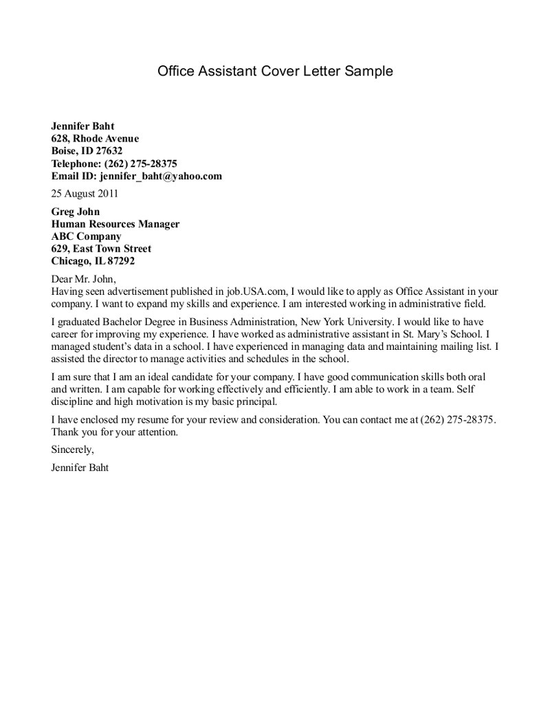 Cover Letter for Office Staff Office assistant Cover Letter Example Example Cover Letter