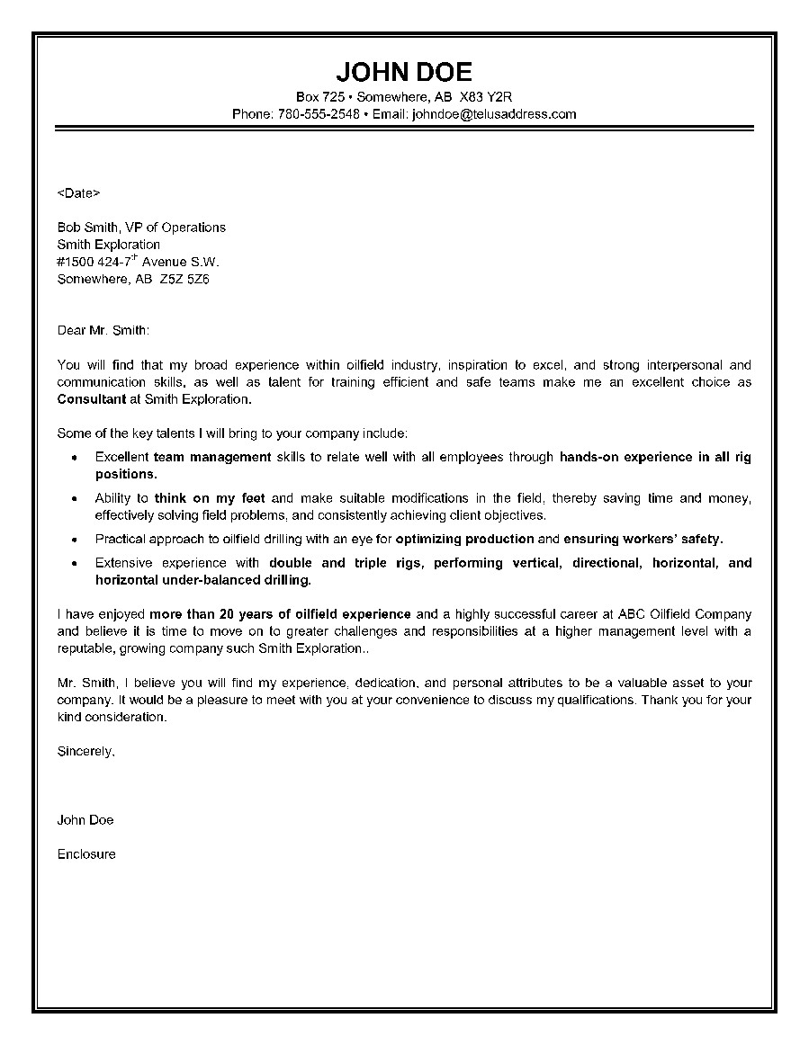 Cover Letter for Oil and Gas Internship This Oilfield Consultant Cover Letter Highlights Oil and