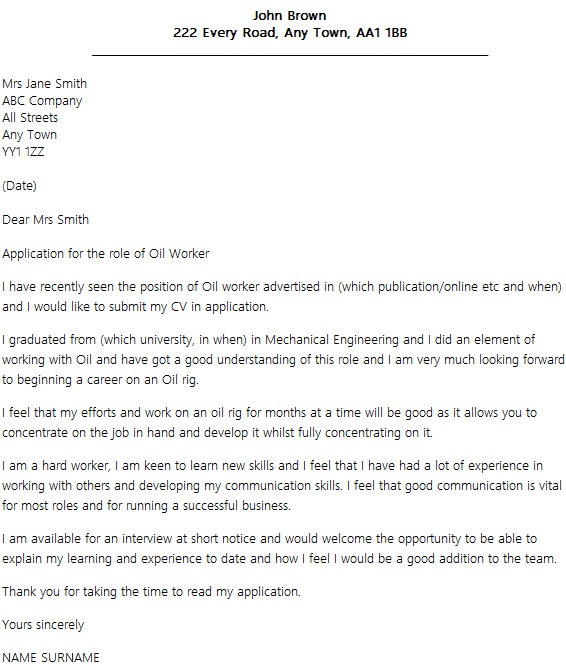 Cover Letter for Oil Company Oil Job Cover Letter Example Icover org Uk
