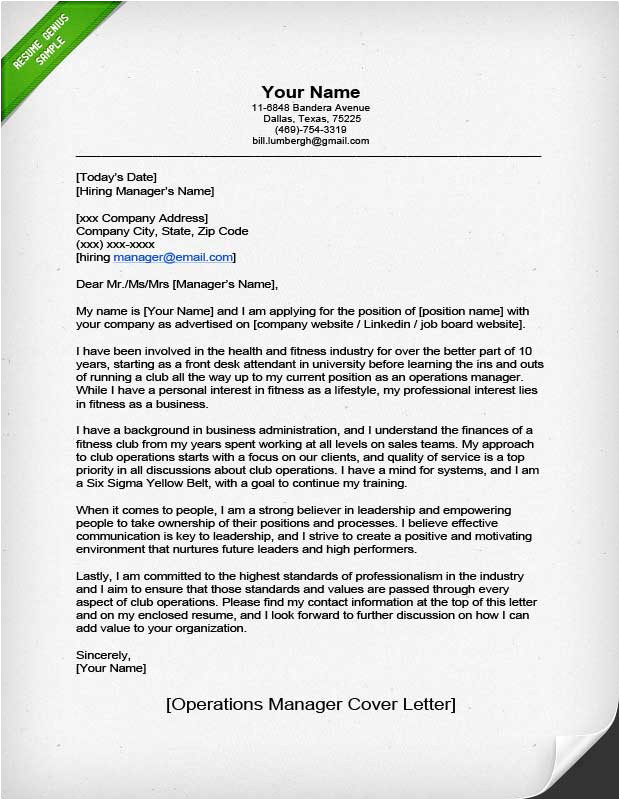 operations manager cover letter example